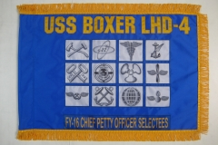 Custom USS Boxer FY 16 Guidon with Fringe Front